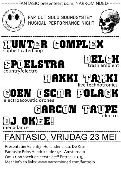 flyer: far out solo soundsystem musical performance night, fantasio, amsterdam – may 23 2008