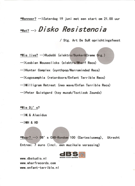 flyer: disko resistencia, db's, utrecht - june 19 2010