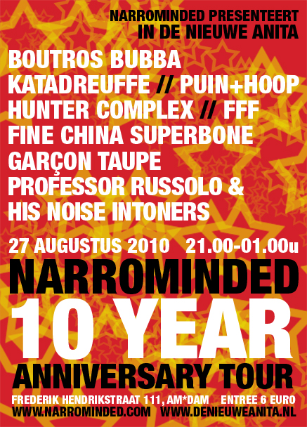 flyer: narrominded 10 year anniversary tour, de nieuwe anita, amsterdam - august 27 2010