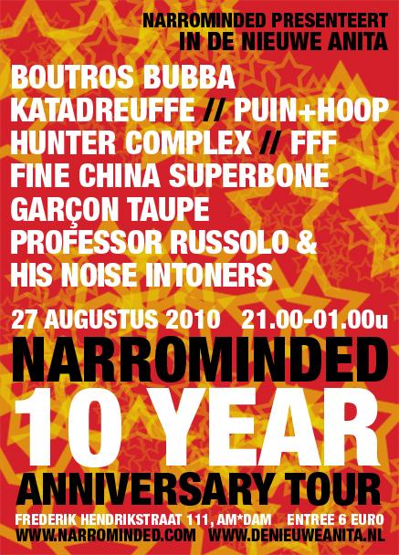 flyer: narrominded 10 year anniversary tour, de nieuwe anita, amsterdam - august 27 2010