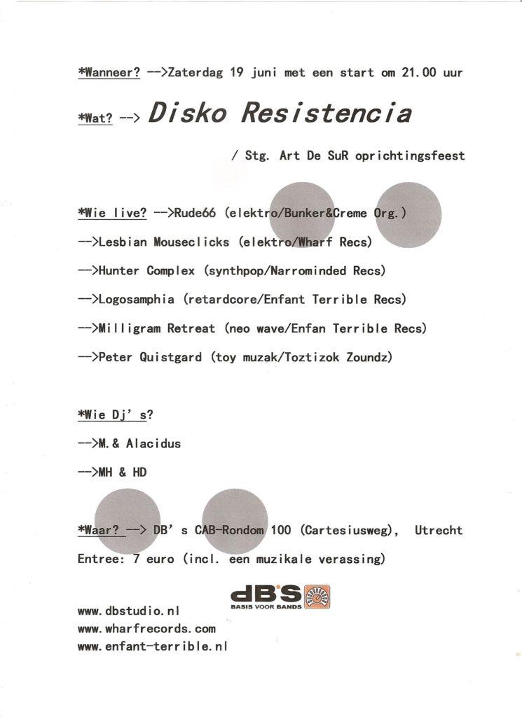 flyer: disko resistencia, db's, utrecht - june 19 2010