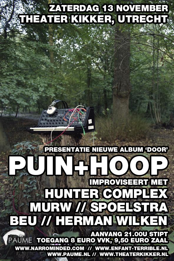 flyer: puin + hoop door release party, theater kikker, utrecht - november 13 2010