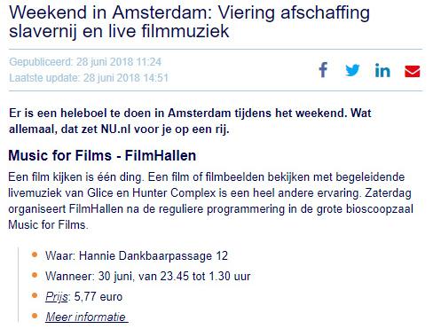 nu.nl: music for films, filmhallen, amsterdam – june 30 2018
