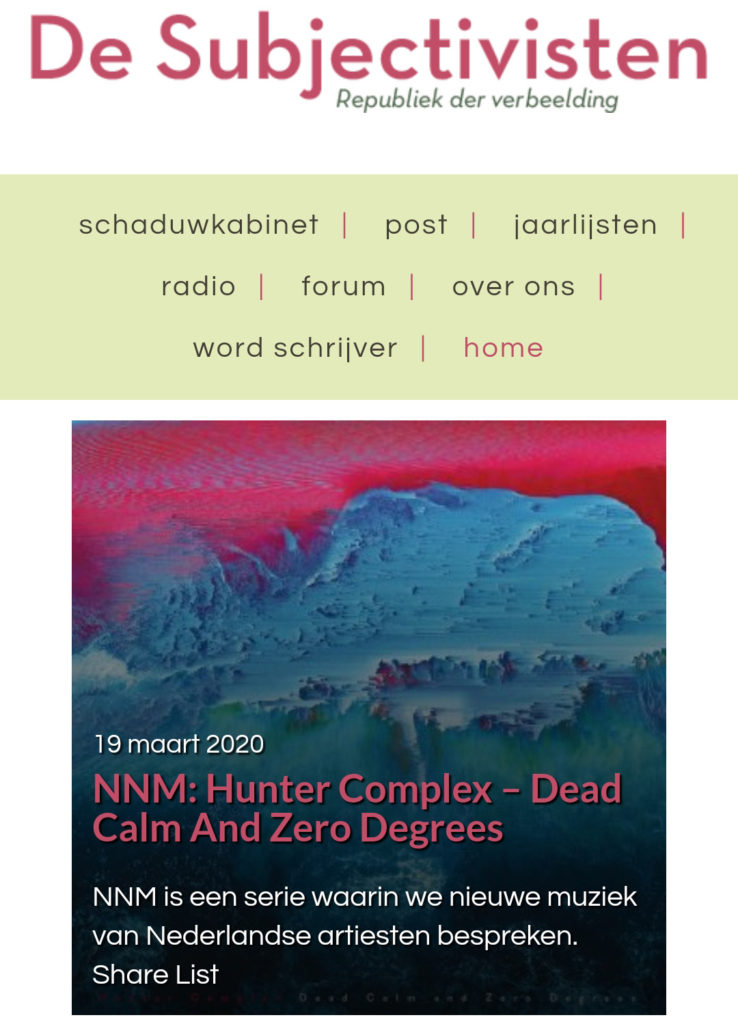 hunter-complex-dead-calm-and-zero-degrees-subjectivisten-19-march-2020