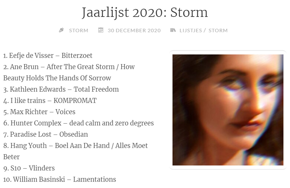 file under: jaarlijst 2020 by storm (including dead calm and zero degrees)